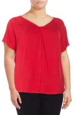 Lord & Taylor Plus Twist-Neck Top