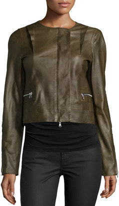 Kaufman Franco Long-Sleeve Cropped Leather Jacket, Cornichon $1,015 thestylecure.com