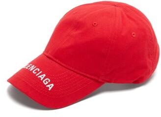 Balenciaga Logo Embroidered Cotton Cap - Mens - Red