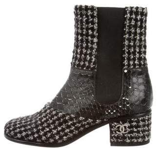 Chanel Python-Trimmed Tweed Ankle Boots