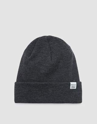 Norse Projects Norse Top Beanie in Charcoal Melange