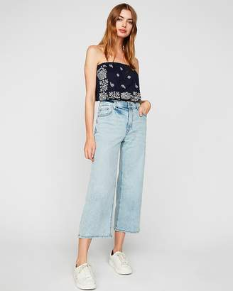 Express One Eleven Banded Bottom Paisley Tube Top
