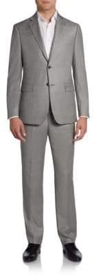 Saks Fifth Avenue BLACK Sharkskin Wool Two-Button Suit/Slim-Fit