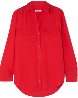55c63fc508d764 Equipment Signature Washed-crepe Shirt - Red