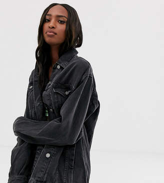 Asos Tall DESIGN Tall denim girlfriend jacket in washed black