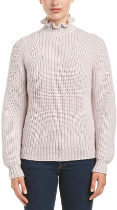 Rebecca Taylor Ruffle Turtleneck Wool-Blend Pullover
