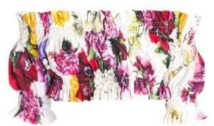 Dolce & Gabbana Shirred Floral Off-The-Shoulder Crop Top
