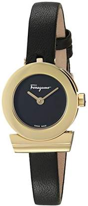 Salvatore Ferragamo Women's 'GANCINO Strap' Quartz Gold-Tone and Leather Watch