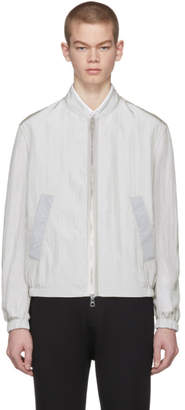 Neil Barrett Grey Reflective Sportswear Bomber Jacket
