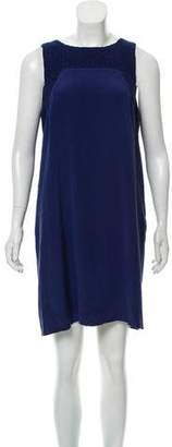 Tibi Lace-Accented Silk Dress