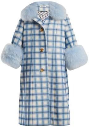 SAKS POTTS Yvonne fur-trimmed checked-wool coat