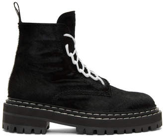 Proenza Schouler Black Pony Lace-Up Boots