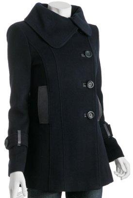 Mackage navy wool-cashmere 'Effie' short button coat
