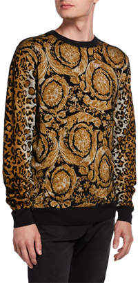 Versace Men's Baroque Leopard Chenille Sweater