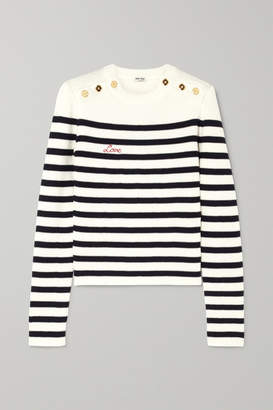 Miu Miu Embroidered Striped Ribbed Wool Sweater - Ivory