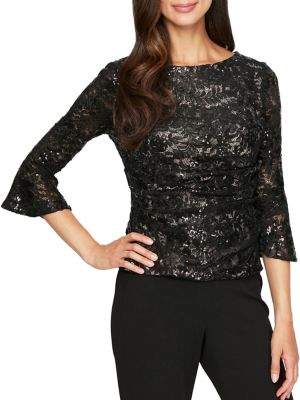 Alex Evenings Sequined Lace Bell-Sleeve Blouse