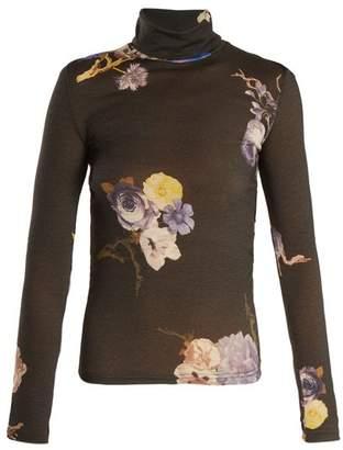 Acne Studios Cleo High Neck Floral Print Wool Sweater - Womens - Black Multi