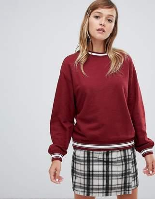 Monki crew neck sweatshirt in burgundy