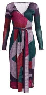 Tanya Taylor Ellie Colorblock Wrap Dress