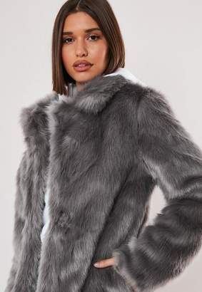 Missguided Gray Faux Fur Coat With Collar