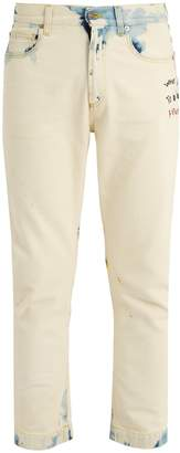 Gucci Embroidered mid-rise slim-leg jeans