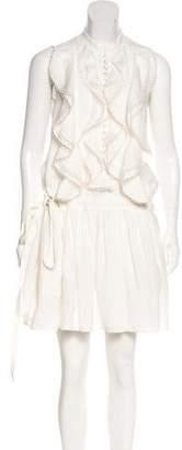 Chloé Silk-Trimmed Linen Dress