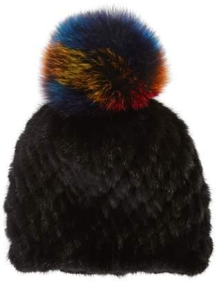 Jocelyn The Supermoon Genuine Mink Fur Hat with Genuine Fox Fur Pom