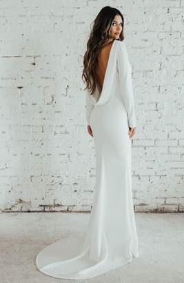 Katie May Noel and Jean by Cowl Back Crepe Gown