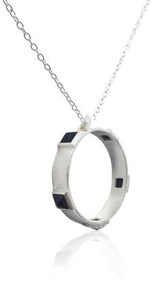 Eliza J Bautista Onyx Rock Chic Necklace In Sterling Silver