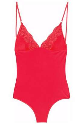 Stella McCartney Open-back Broderie Anglaise-trimmed Swimsuit