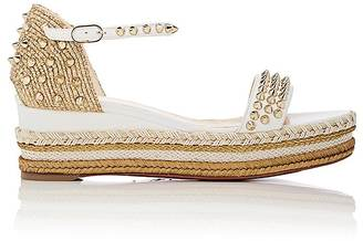 Christian Louboutin Women's Madmonica Leather Wedge Espadrille Sandals $795 thestylecure.com