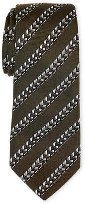 Givenchy Olive & Silver Chain Silk Tie