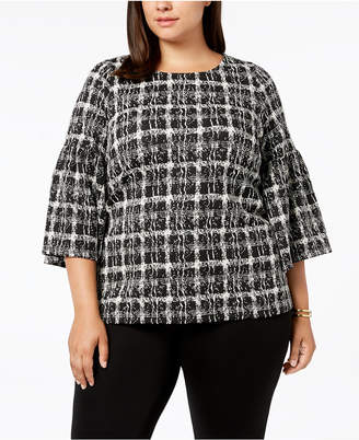 Calvin Klein Plus Size Flare-Sleeve Printed Top