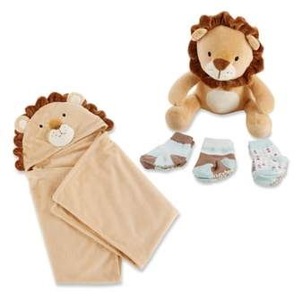 Baby Aspen Lion Safari Hooded Blanket, 3-Pack Socks & Stuffed Animal Set