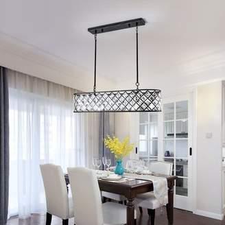 Maxax Untique Black Crystal Rectangular Pendant Lighting Fixture For Kitchen Island 5 Lights Maxax
