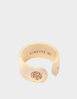 ginette_ny Ivory ceramic monogram open ring