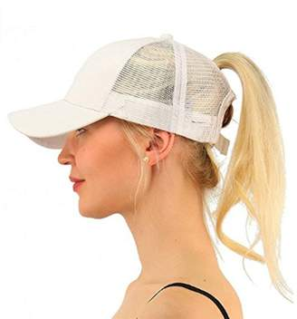 BEIGE LIWEIKE Ponycap Messy High Bun Ponytail Mesh Trucker Baseball Cap Hat Style 2))
