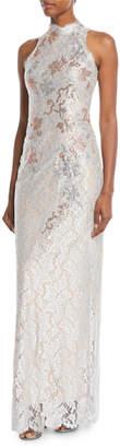 Jovani Rhinestoned Mock-Neck Column Gown