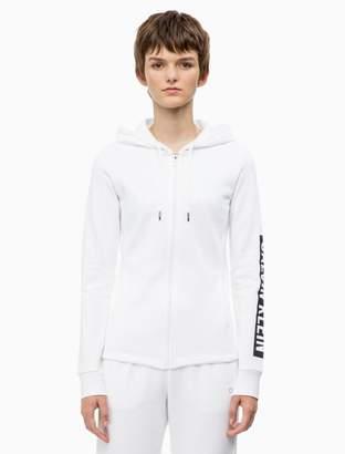 Calvin Klein logo block fleece hoodie jacket