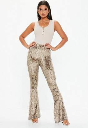 Missguided Brown Snake Print Velvet Flare Pants