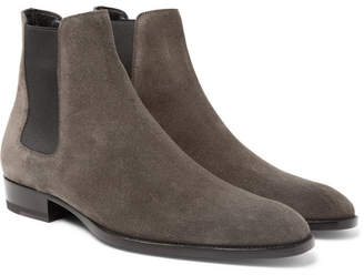 Saint Laurent Wyatt Suede Chelsea Boots - Men - Anthracite