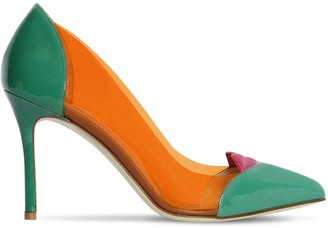 Giannico 100MM LOLA PLEXI & PATENT LEATHER PUMPS