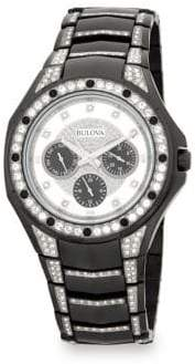 Bulova Crystal-Trimmed Stainless Steel Bracelet Watch