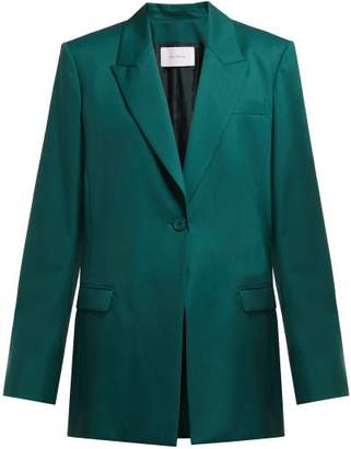 Roche Ryan Single Breasted Wool Blazer - Womens - Dark Green