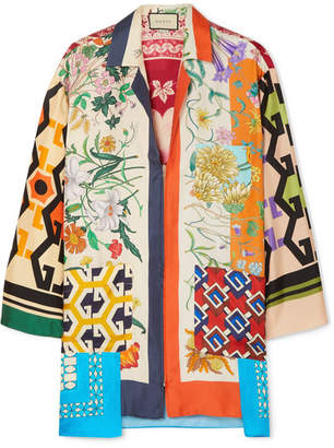 Gucci Oversized Printed Silk-twill Blouse - Ivory