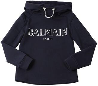 Balmain Logo Printed Cotton Sweatshirt Hoodie