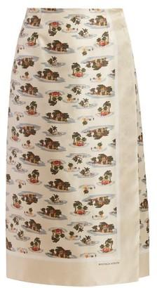 Bottega Veneta Hawaiian Print Twill Skirt - Womens - Ivory Multi