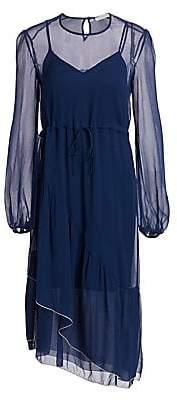 See by Chloe Women's Asymmetric Sheer Silk Midi Dress