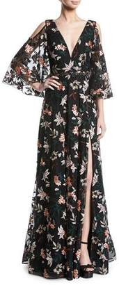 Jovani Floral Gown w/ Cold Shoulder & Embellished Waist