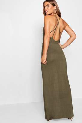 boohoo Petite Strappy Back Maxi Dress